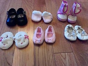 Baby Girl Shoes/Slippers/Boots (Sizes 1 and 2)