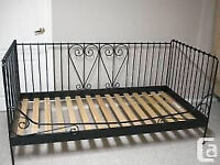 black matel ikea day bed with ikea sultan mattressm VGC, can deliver