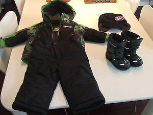 Baby boy winter jacket with snow pants boots hat