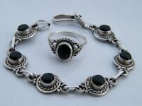 Rope Link BRACELET AND RING VINTAGE Silver - Round BLACK Onyx