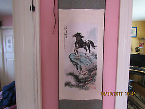Authentic Chinese wall art on silk - horse on a mountain