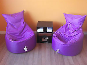 2 PAN AM GAMES PURPLE BEAN BAG CHAIRS - VERY GOOD QUALITY