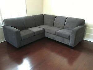 "Brand New Sectional in Grey Fabric!! Canadian Made!! 82"" by 82"""