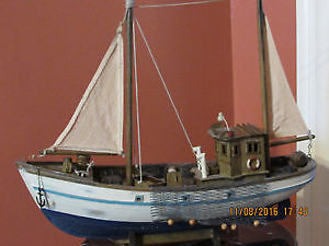 Wooden detailed scale model of a motor fishing boat