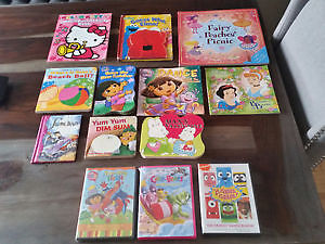 Assorted baby girl books and 3 dvds. Toddler books and dvds.