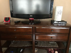 Large Tuscan Brown Console Table with Knobs