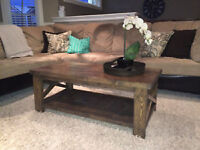 rustic /industrial coffee table for sale. Like new!