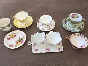 Antique tea cups & saucers / milk & sugar dish all for $10