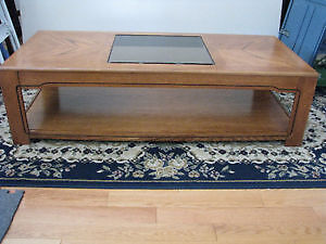 Coffee Hard wood Table with Glass top and Shelf