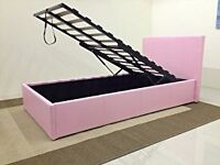 Pink single otoman storage bed