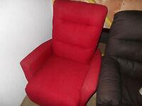 Brand new red fabric Elran swivel recliner