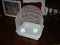 Small bird cage, two feeders, bottom tray, spotless/like new