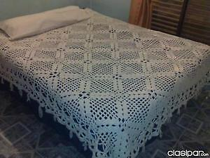 SET OF CROCHET BED COVER HAND MADE  DOBLE & QUEEN SIZE