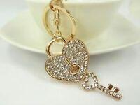 Love heart locked keyring