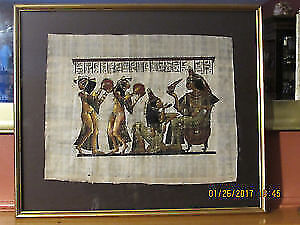 Authentic vintage Egyptian papyrus painting - REAL VINTAGE!