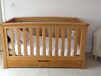 Mamas and Papas Solid Oak Ocean Cotbed / Toddler Bed - Used
