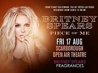 2 x Britney Spears Scarbrough white block row V tickets