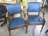 SALE NOW ON!! Pair Of Carver Dining /Bedroom Chairs For Re-upholstery Project - Can Deliver For £19