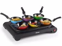 LUXURY ELECTRIC WOK SET 6 PERSONS PARTY TABLE 1000 W GRILL CREPES MAKER