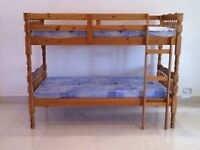 LIMITED EDITION - BRAND NEW PINE SINGLE DOUBLE HARD WOOD BUNK BED FRAME WITH MATTRESSES BUNKBED