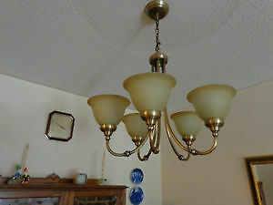 Brass finish 5-light dining room chandelier - light fixture