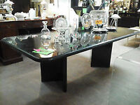 granite dining table  with 8 black metal seats