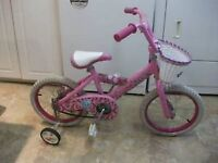 """16""""Barbie bike for 4-6yr old with training wheels, pink, clean k"""