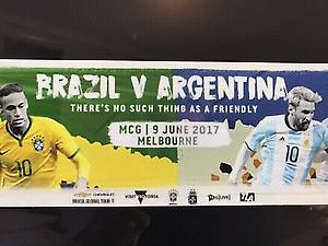 Brazil vs Argentina Gold tickets Soccer Messi vs Neymar Southbank Melbourne City Preview