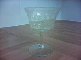 6 Cut Glass Champagne Glasses