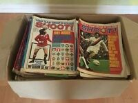 Football Magazines from 70's & 80's SHOOT & GOAL, 2 Large Full Boxes. Plus various hardback books
