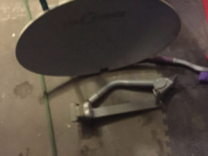 32 inch oval Shaw Direct  dish with 4 port LNB and mast