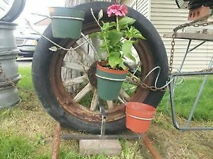 antique wooden spoked wheel custom built planter/Lawn art