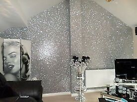 Absolutely stunning high quality silver glitter wall covering