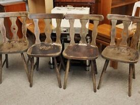 XMAS SALE NOW ON! 4 Dining Oak Chairs - Ideal For Restoration / Paint Project - Can Deliver For £19