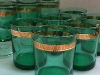 1970s Set of Twelve Green /Gilt Glasses