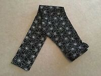 Girls Tesco F&F black with white spider webs design leggings size 10 - 11 years