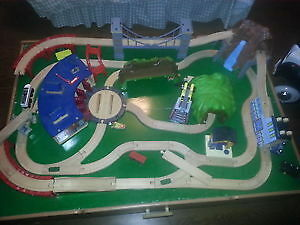 Delux train table with 3 separate train sets
