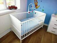 White Wooden SAPLINGS Cot Bed - can deliver