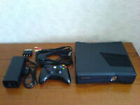 Black XBOX360 Slim W/Kinect,3 WIRELESS controllers and 9 Games!