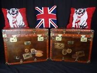 Pair Magnificent Finest Handmade Leather Luggage Trunks Coffee Bed Side Tables