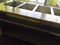 URGENT TWO 6 FEET STEAM TABLE ,COUNTER ,CURVE GLASS FOR SALE