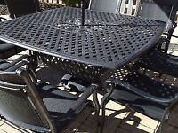 Almost new DOT cast iron table/4 chairs/umbrella/stand