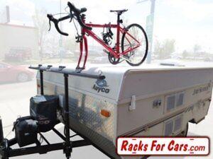 Tent trailer bike rack