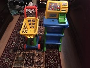 Cash register with shopping cart. AVAILABLE