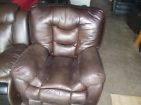 Brown leather match recliner for sale