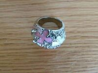 hand-painted white and pink bling ring