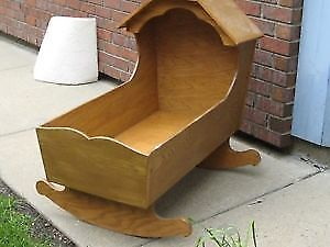 CRADLE: HAND MADE WOOD for INFANT or Life Size DOLL