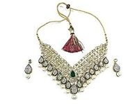 Mogul Interior Women's Indian Bollywood Fashion Necklace Stones Pearls Partywear Jewelry Sets