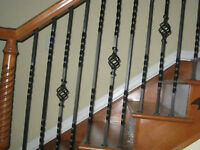 Black Iron Spindles (In excellent condition) and Wood Posts