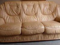 2 Piece beige leather settee suite